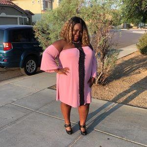 Pink off the shoulder choker dress
